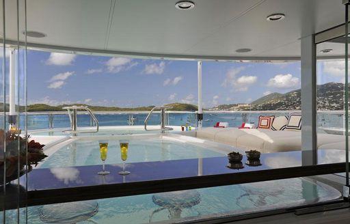 Swim up bar on a luxury yacht