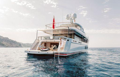 drop-down swim platform on board luxury yacht Calypso