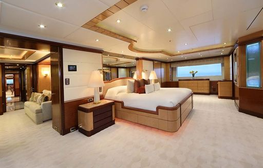 spacious split-level master suite on board motor yacht JAGUAR
