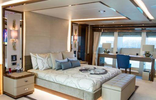 One of the guest cabins featured on board superyacht Princess AVK
