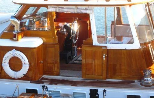 Traditional wheelhouse on sailing yacht 'Sea Diamond'
