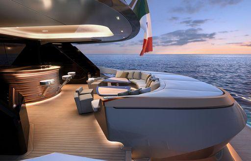 bar area and dining on adamas 6 luxury yacht aft decks