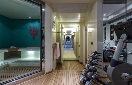The area and gym equipment featured on board superyacht 'Coral Ocean'