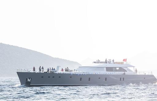 Superyacht All About u 2 on the water