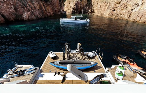 swim platform and toy selection of benetti charter yacht