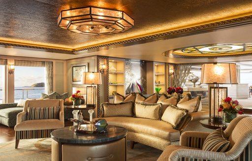 Seating area on luxury yacht SOLANDGE