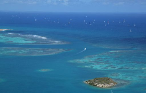 view from Shirley Heights of the start of the RORC Caribbean 600