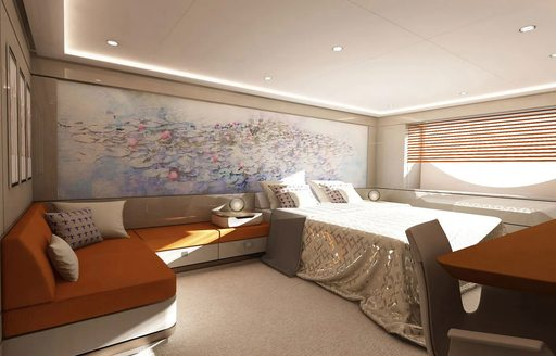 guest suite on soaring yacht