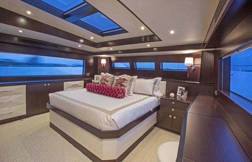 luxurious master suite with skylights on board luxury yacht 'Lady Carmen'
