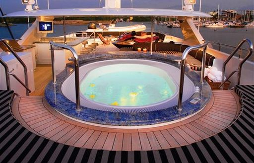 Superyacht Spa pool, lit-up at night