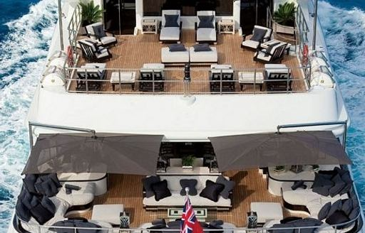 The aft deck of superyacht 'Silver Angel'