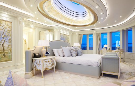 Luxury yacht TIS owner's suite, with large skylight