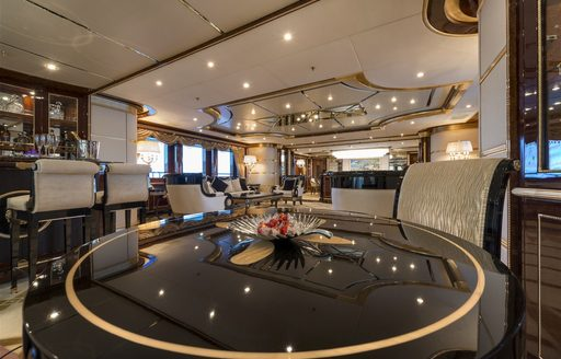 The art deco interior furnishings on board superyacht 'Mine Games'
