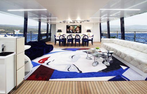 contemporary main salon on board motor yacht BLADE