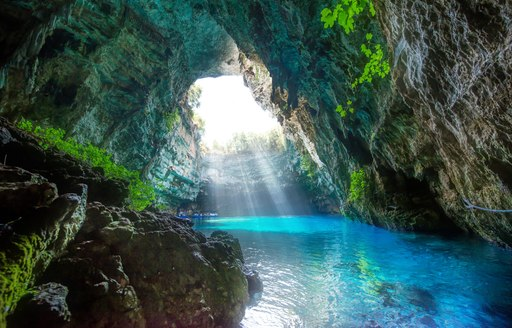 Beautiful Melissani Cave in Kefalonia, Greece