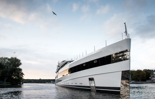 Lady S on the water near Feadship shipyard