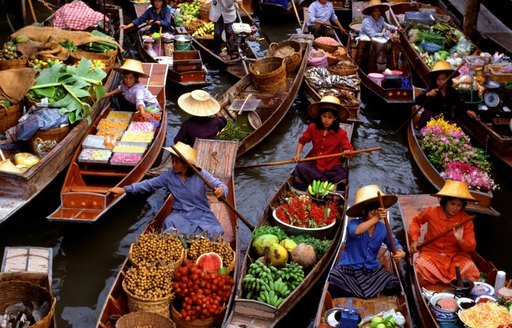 boats in canal at Water Food Markets in Thailand