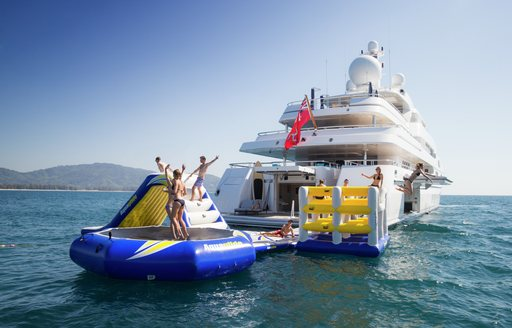Inflatable toys onboard MY Titania