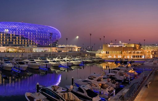 superyachts line up in Yas Marina to take in all the action of the Abu Dhabi Grand Prix