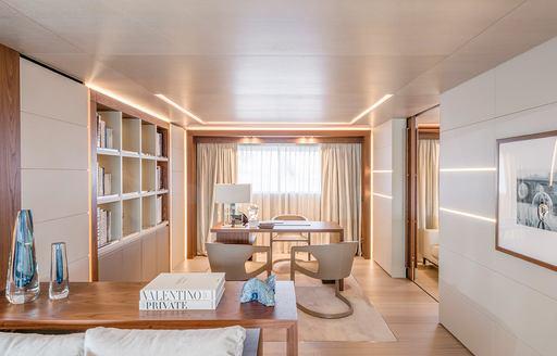 office area that adjoins master cabin on luxury yacht Utopia IV
