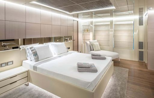 View of double bed on explorer yacht 'Seven Diamonds'