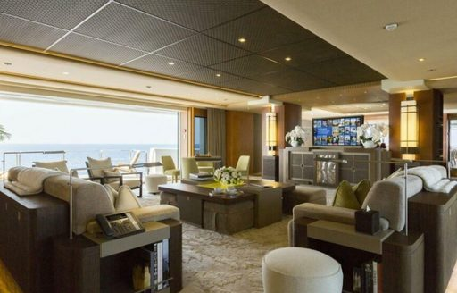 Overview of the main salon onboard yacht charter NIRVANA