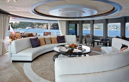 Salon area on yacht Trident