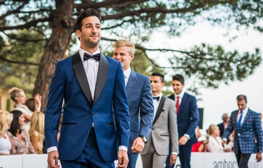 F1 drivers on catwalk at amber lounge fashion show in monaco during monaco grand prix
