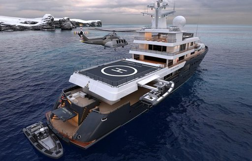 Helicopter about to land on Planet Nine superyacht that features in Tenet