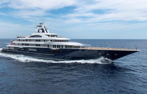 Superyacht TIS underway profile shot
