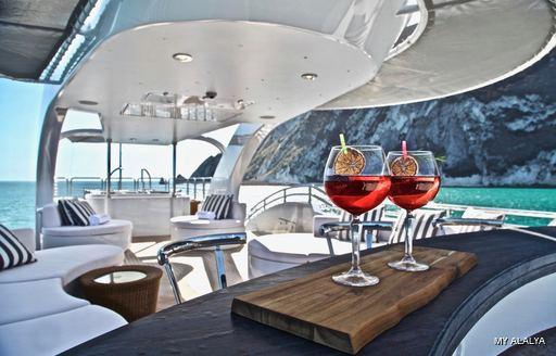 Outdoor bar area onboard MY Alalya
