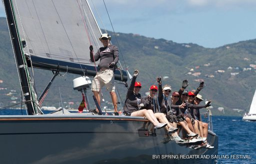 sailors racing on boat in the bvi spring regatta