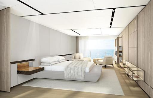 A rendering of the guest accommodation on board motor yacht CLOUDBREAK