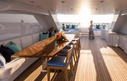 Sundrenched covered interior of Superyacht BACA