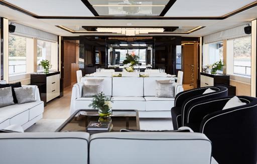The monochrome interior of superyacht Ghost II