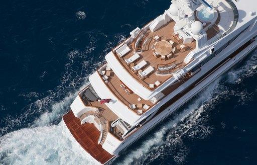 Aft aerial view of Oceanco's FRIENDSHIP motor yacht ex Sunrise