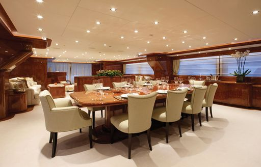 Formal dining area on luxury yacht BARON TRENCK