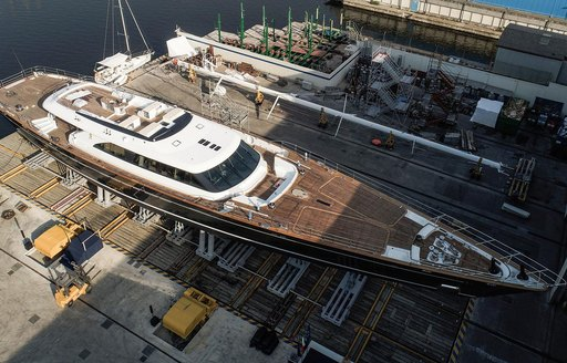 luxury yacht SEVEN is launched into the water