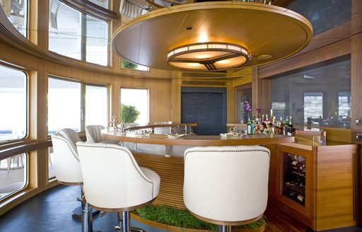 private bar in owners' suite on board superyacht 'Indian Empress'