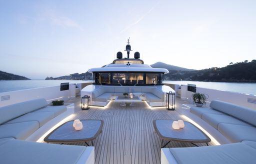 foredeck area on luxury yacht lady lena