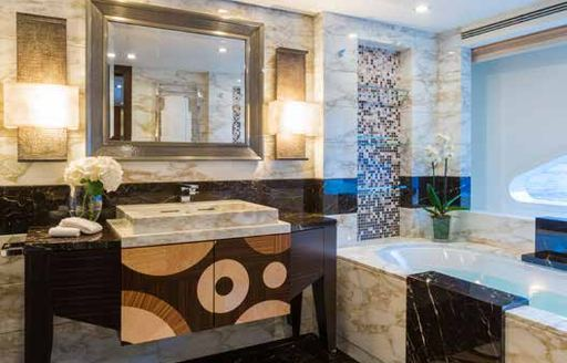 Marble bathroom on W motor yacht