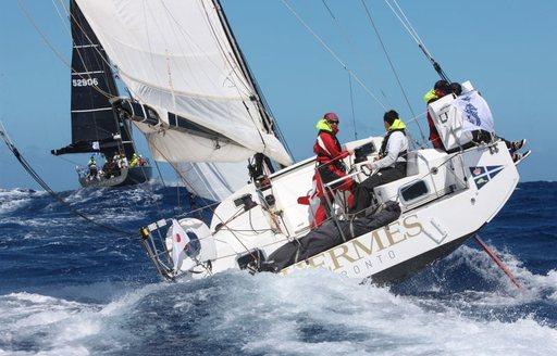 sailing yacht HERMES competes at the RORC Caribbean 600 in St Barths