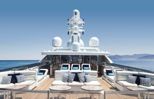 seating areas on sundeck of superyacht TITANIA