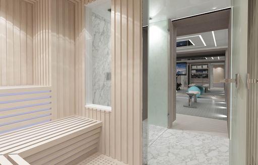 sauna on superyacht tatiana