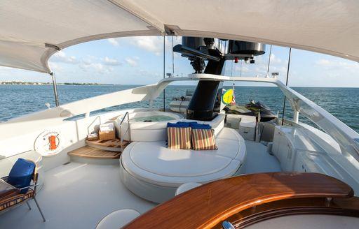 the sundeck of motor yacht TEMPTATION