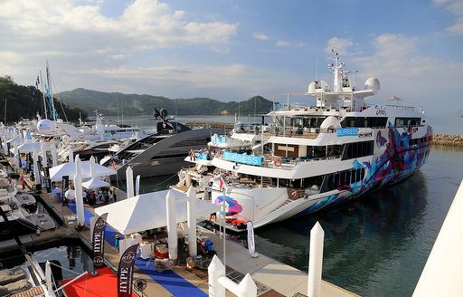 Superyacht Saluzi and superyacht Ocean Emerald in port at the first edition of the Thailand Yacht Show