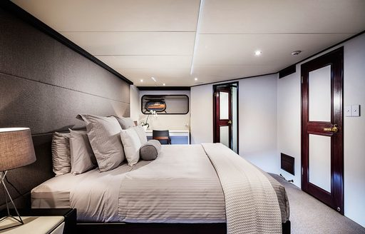 contemporary master suite aboard motor yacht CORROBOREE