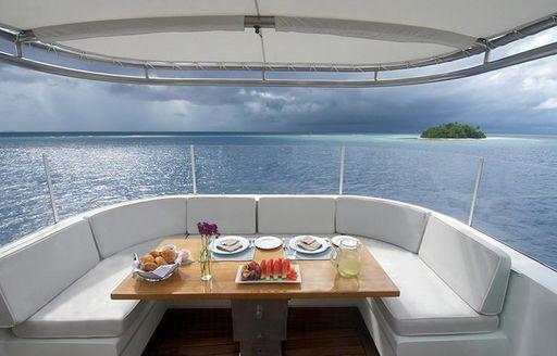 onboard dinner table on luxury yacht