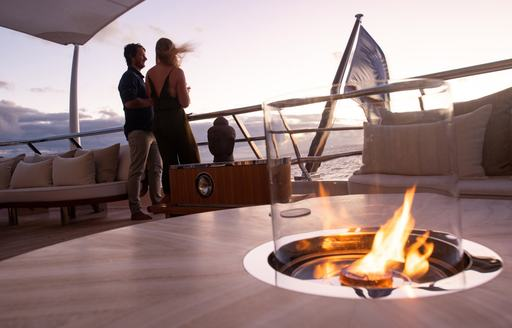 fire pit luxury yacht driftwood