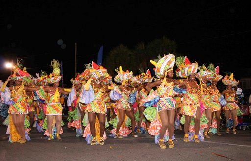 group of Parade dancers at Junkanoo festival